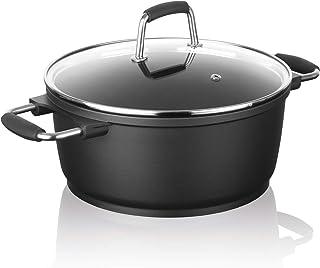 """Bratoni casserole en fonte d'aluminium de qualité """"cast"""" avec couvercle en verre 28 cm   revêtement antiadhésif pour une c..."""