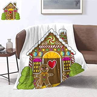 Luoiaax Gingerbread Man Comfortable Large Blanket Cute Gingerbread House Decorated with Colorful Candies Man Graphic Figure Microfiber Blanket Bed Sofa or Travel W70 x L84 Inch Multicolor