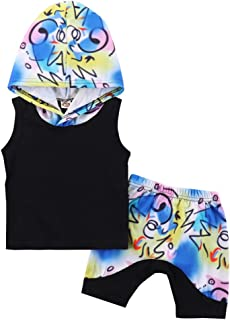 Toddler Kids Baby Boy Girls Summer Outfits Sleeveless Hoodie Tops + Graffiti Print Short Pants 2PCS Clothes Set