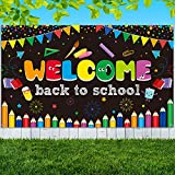 Welcome Back to School Banner First Day of School Backdrop Banner Extra Large Fabric Welcome Banner Poster Bulletin Board Flag Photo Booth Prop Wall Decoration for School Supplies, 72.8 x 43.3 Inch