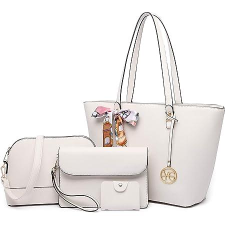 YeumouG Handtasche Damen Schwarz Shopper Groß Schultertasche Umhängetasche Leder Damen Geldbörse Tragetasche Damen Tasche 4pcs Set (Weiß)
