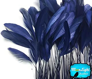Moonlight Feather   1 Dozen - Navy Blue Stripped Rooster Coque Tail Feathers Craft Costume Supply