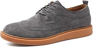 Shoes メンズオックスフォードカジュアル快適な通気性のクラシック彫刻レースアップブローグシューズ Comfortable (Color : グレー, サイズ : 25.5 CM)