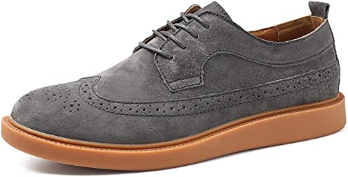 Easy Go Shopping botas de Tobillo para Hombre Casual High Top Round Toe Tie con Suela de Goma con Cordones de Zapaños de Trabaño (Color   gris, Tamaño   43 EU)
