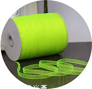 Champagne (10 Meters/lot) 1/4''(6mm) Organza Ribbons Wholesale Wedding Christmas Birthday Party Decoration Gift Wrapping Ribbons,Neon Yellow