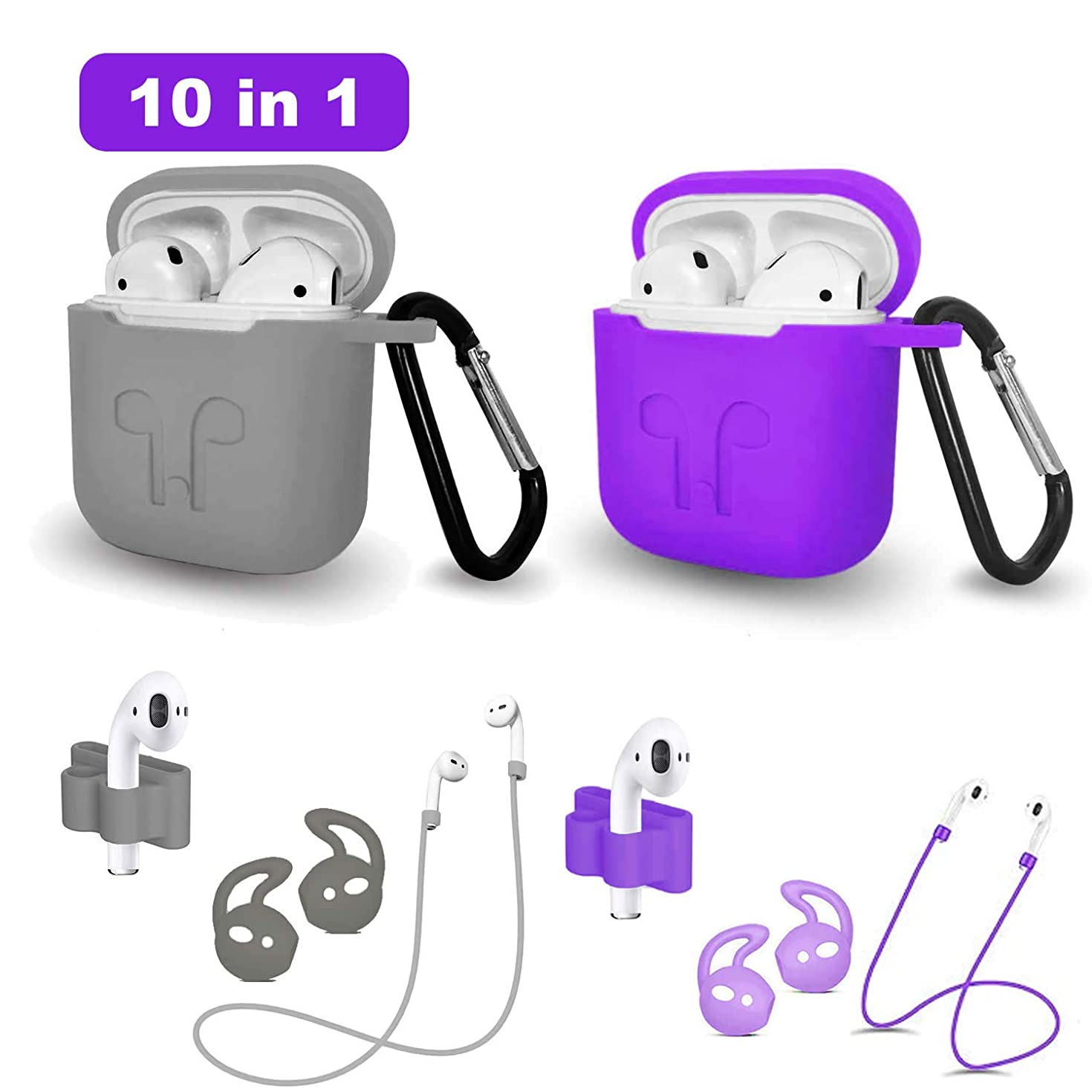 Airpods Case, Airpods Accessories Kits, 11 in 1 Protective Silicone Cover Skin Apple Airpods Anti-Lost Airpods Strap, Airpods Watch Band Holder, Airpods Ear Hook (Purple and Gray)