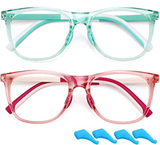 WOWSUN - Gafas de bloqueo de luz azul para niños y niñas, 2 unidades de 4 a 10 años