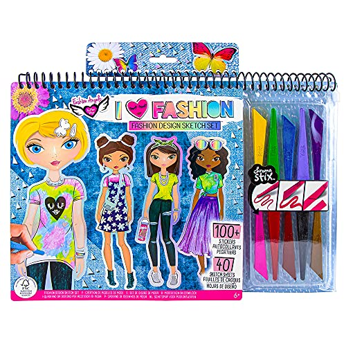 Fashion Angels Fashion Design Sketch Portfolio Artist Set With Crayons 11702, Clothing Design Sketch Pad for Beginners, For Kids 6 and Up