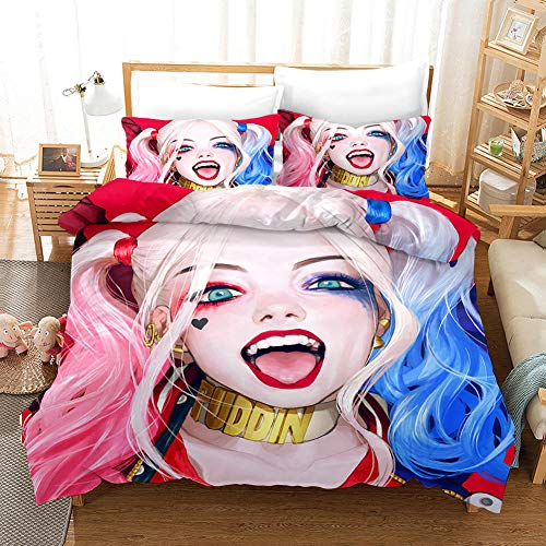 Qingxsm Duvet Cover Double Bed 200 x 200 cm Bedding 3-piece set by Microfiber with 2 Pillowcases 50 x 75 cm with Zipper Harley Quinn printing Duvet Cover set