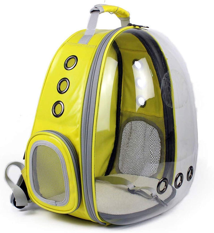 MYMGG New Pet Pack Space capsule Semitransparent transparent backpack Cat dog Portable Backpack(Yellow)