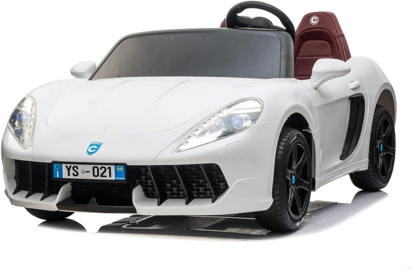 Coche eléctrico para niños Monaco GT4 Race 24 V New Puertas abatibles 2 plazas con asientos de piel con Televisor MP4 Full Optional (blanco)