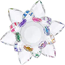 IMIKEYA Castiçal de Lótus de Cristal Flor Vela Tealight Titular Mesa de Jantar Lâmpadas Vela Titular Suporte de Vela de Vi...