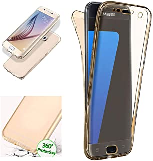 Aearl Samsung Galaxy S7 Case,Thin Crystal Clear 2 Piece TPU 360 Degree Full Body Coverage Protection Shock Absorbing Protective Bumper Cover with Built in Screen Protector for Samsung Galaxy S7-Gold