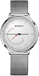 BERNY Hybrid Smart Watch Couple Watch for Men and Women, Pedometer Calories Monitor Fitness Tracker with SOS Function, Compatible with iPhone and Android (Silver, Female)