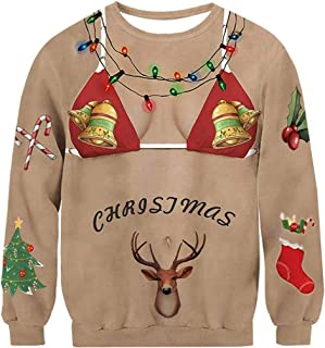 Unisex Ugly Christmas Sweatshirt Funny Design Pullover for Xmas Holiday Party