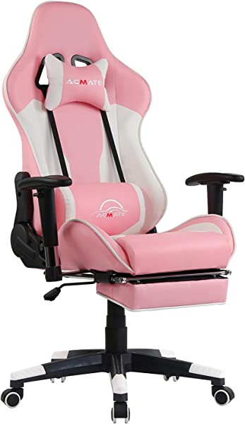 Acmate Girl Gaming Chair Massage Gaming Computer Chair With Footrest Reclining Home Office Chair Racing Style Gamer Chair High Back Gaming Desk Chair With Headrest And Lumbar Support Pink White