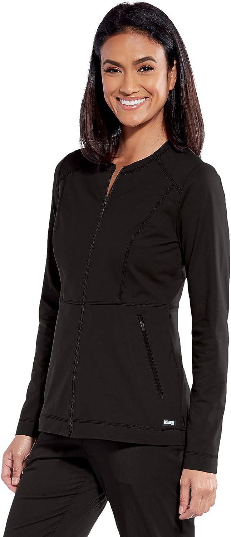 "BARCO Grey's Anatomy Impact GIW001 Women's Tempo 4-Pocket 26"" Round Neck Zip Front Scrub Jacket: Clothing, Shoes & Jewelry"