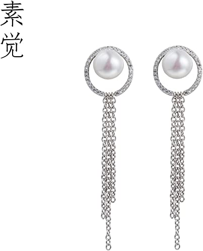 BAGEHAN Die manuelle Auswahl der 925 Silber Perle Ring Ohrringe Ohrringe Ohrringe Ohrschmuck Lady Quaste Ohr Line Pearl Ring Quaste Ohrstecker
