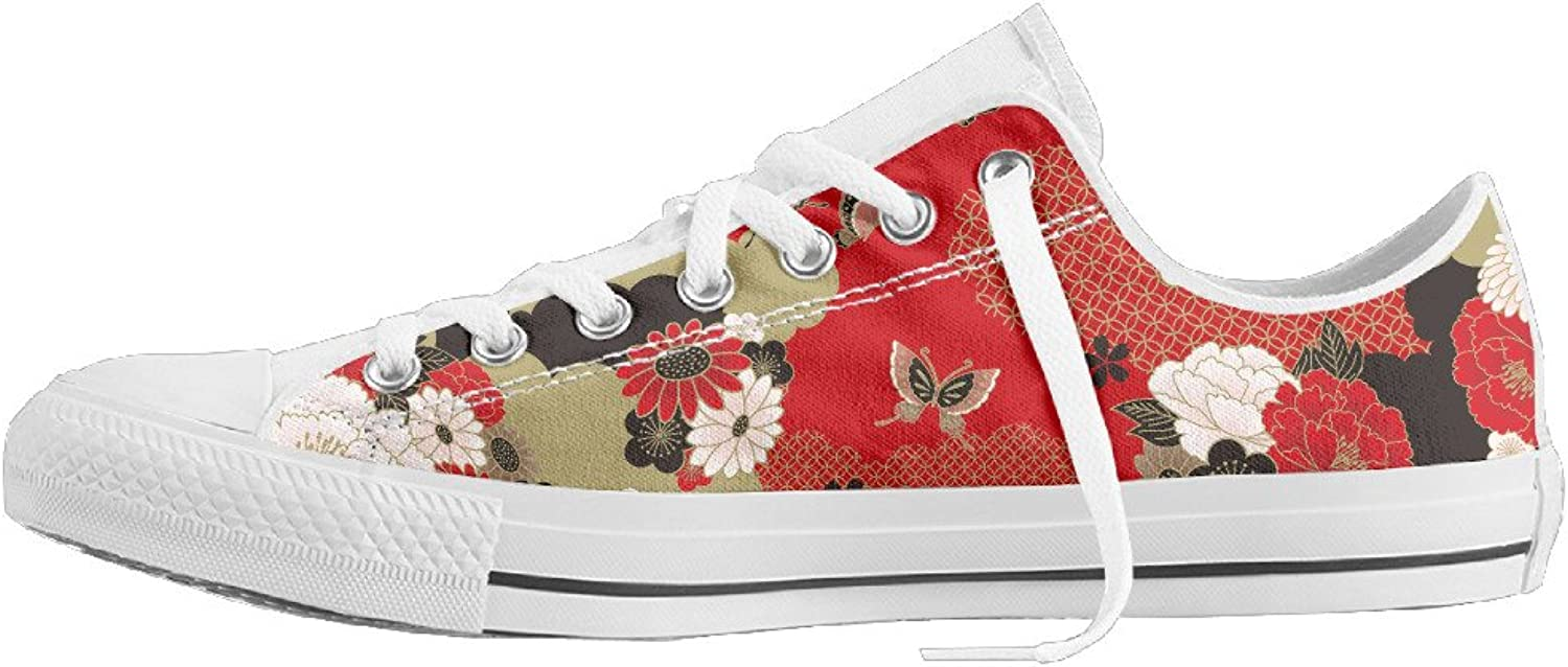 Women's Red Japanese Floral Style Low Top Flat Classic Canvas Fashion Sneaker Durable Athletic shoes