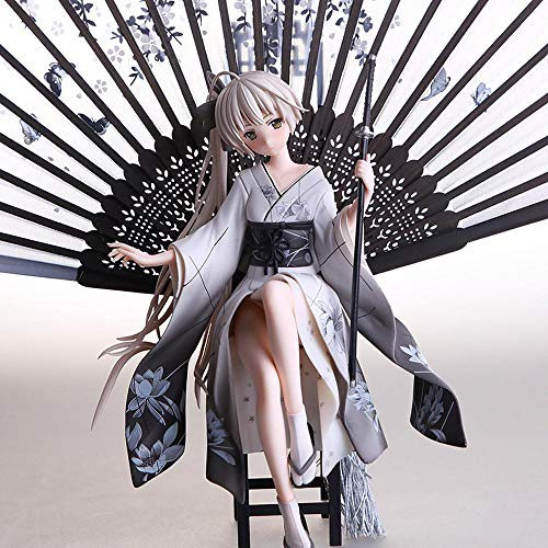 Figura De Anime Chica Modelo Personaje Femenino con Ventilador Animado Kasugano Sora Kimono Niña PVC Figuras De Acción Juguetes Figura De Anime Grey-26CM