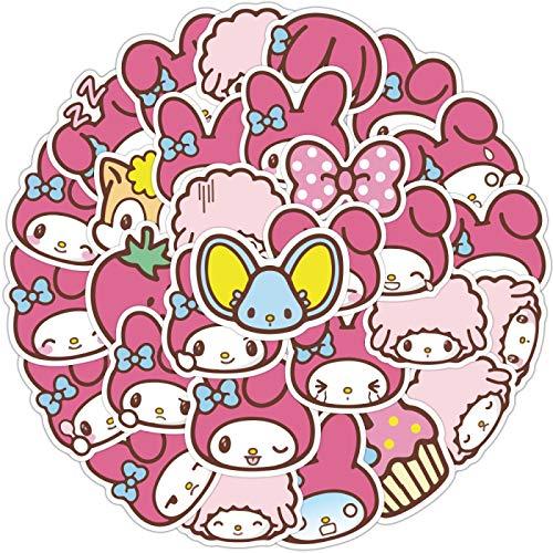 WYZNB Caramelo Color Anime Caracteres de dibujos animados Lindo Conejo Termo Copa Casco Impermeable Teléfono Shell Sticker 40 Hojas