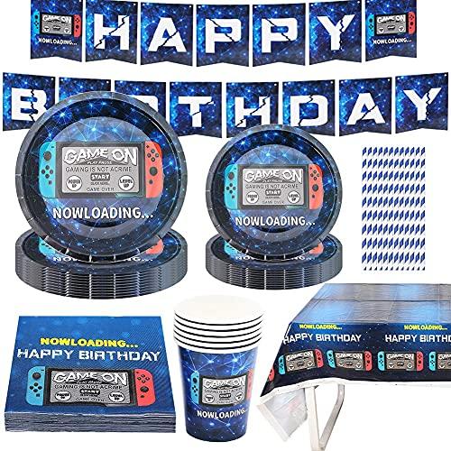 Amycute Game Party Supplies Vajilla De Fiesta De Cumpleaños Suministros de Fiesta Game con pancartas, Platos, Tazas, servilletas,Mantel, para Cumpleaños niños Tema de Videojuegos