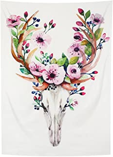 YAMUDA Watercolor Flower Deer Decor Collection, Wildflowers Cornflowers Daisies Blooms and Buds Picture Print, Bedroom Living Kids Girls Boys Room Dorm Accessories Wall Hanging Tapestry, Pink White
