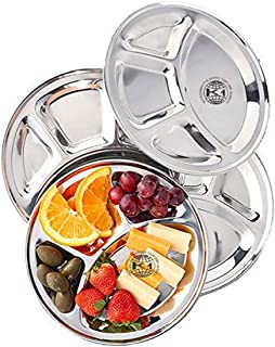 King International 100% Stainless Steel Four in one Dinner Plate Four sections divided plate Four section plate -Set of 4 Mess Trays Great for Camping, 30 cm