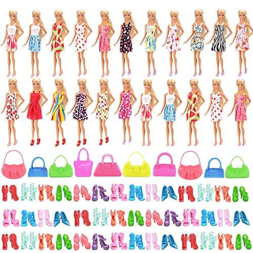 WENTS Kleidung zubehör Set 50 Stück Kleider Set für Fashionistas Puppe Prinzessin Barbie Puppe mit 20 Kleider, 20 Paar Schuhe und 10 Handtasche