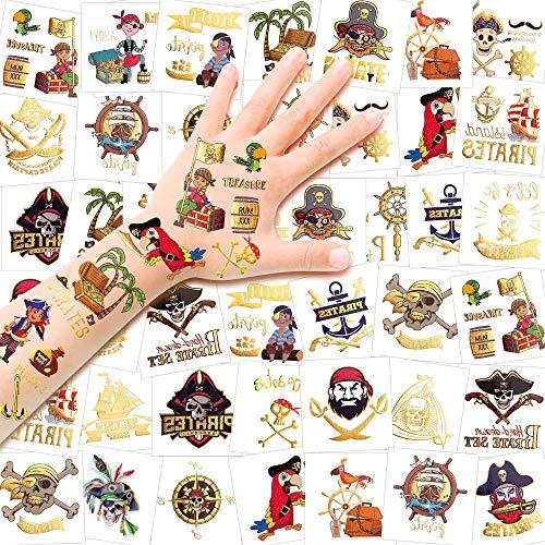 Konsait 56 x Metalicos Tatuaje Pirata Niños, Falso Impermeables Pirata Tatuajes Temporales...