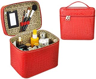 Garrelett Jewelry Trinket Cosmetic Box Large Capacity Faux Alligator Leather Make-up Case Organizer with Mirror for Women Girls (Red)