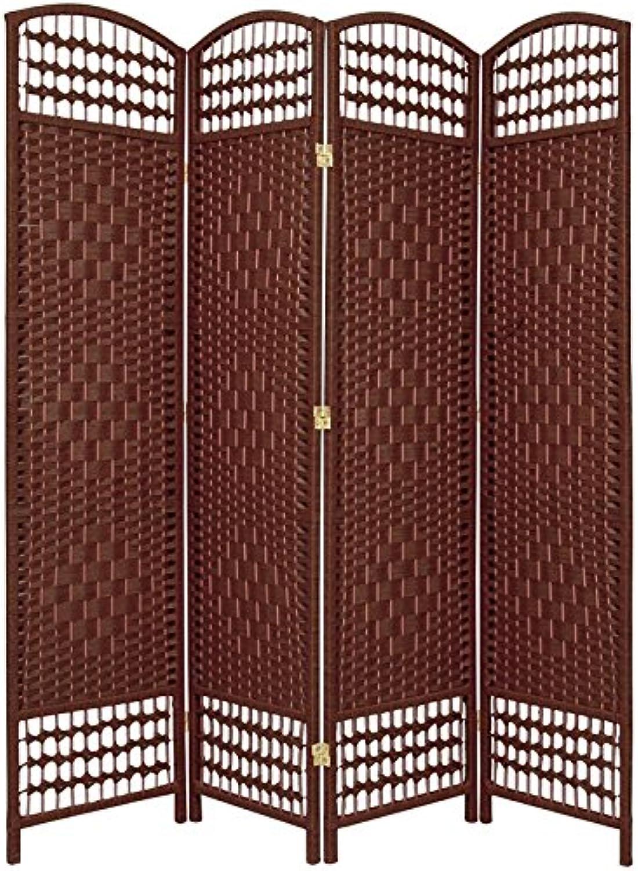 Oriental Furniture Good Deal Best Room Divider, 5.5-Feet Open Diamond Weave Natural Fiber Folding Screen, Dark Red, 4 Panel Size