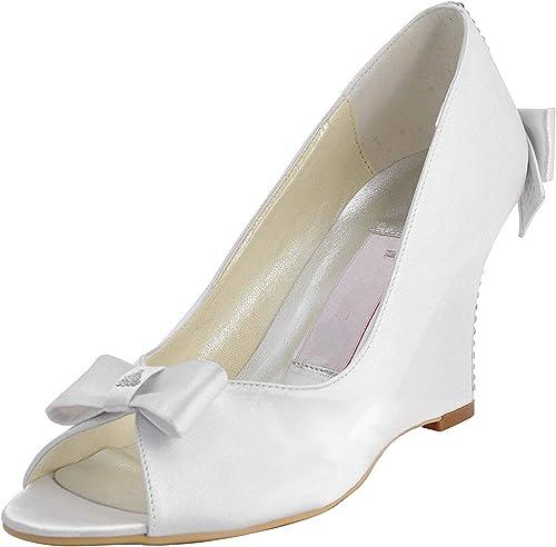 ZHRUI Sandalias de Baile de Noche para damen MZ543 Wedge High Heel Satin (Farbe   Ivory-9cm Heel, tamaño   5.5 UK)