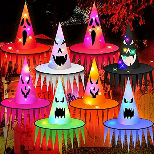 8 Sombreros de Bruja de Halloween Sombreros de Bruja Fantasma Iluminados Colgantes Sombrero de Bruja de LED de Decoración de Halloween para Decoración de Árbol Yarda Exterior (con Borla)