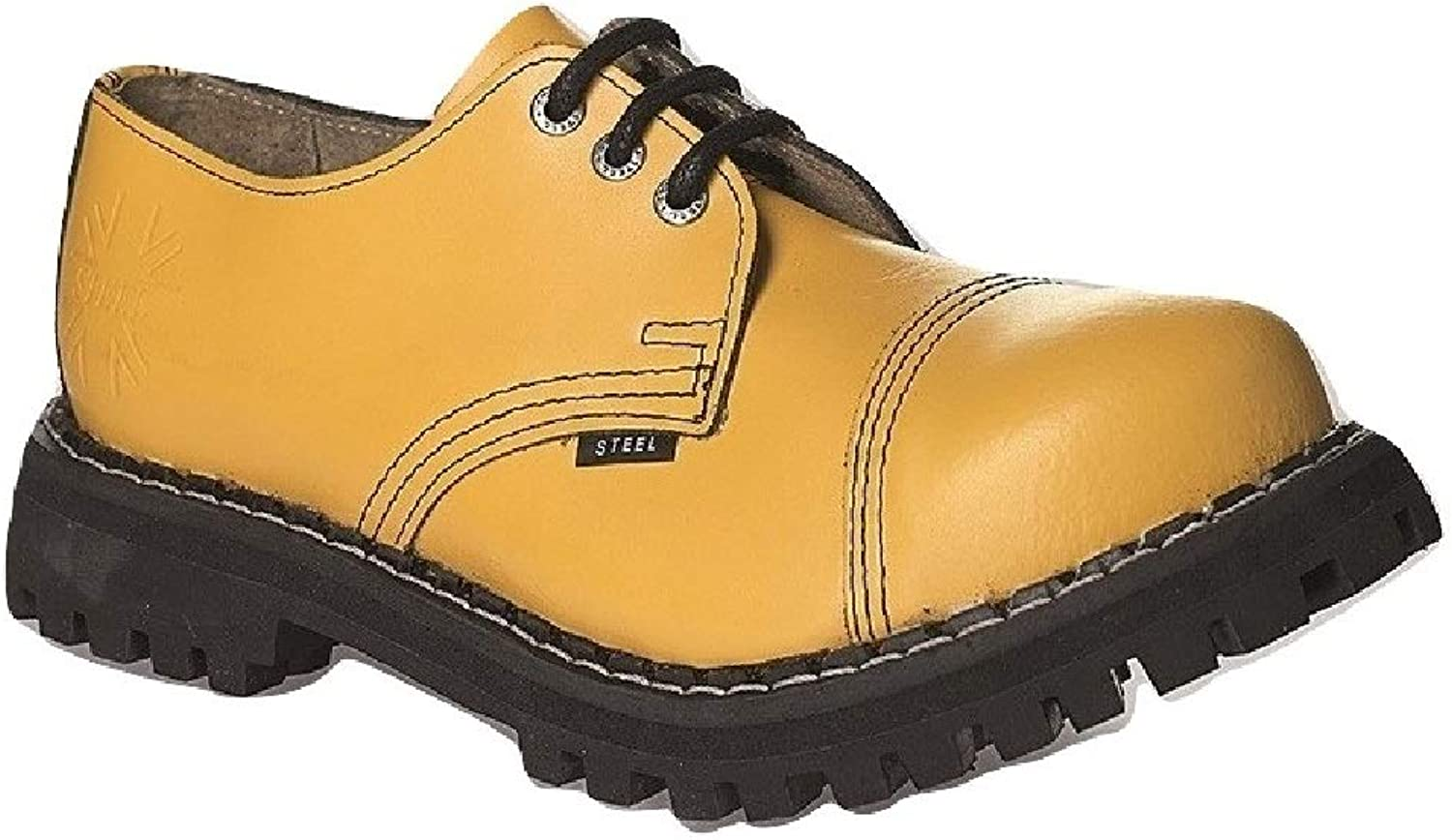 Steel Military shoes Unisex Men's Ladies Leather Yellow 3 Eyelets Army Punk Toe Cap