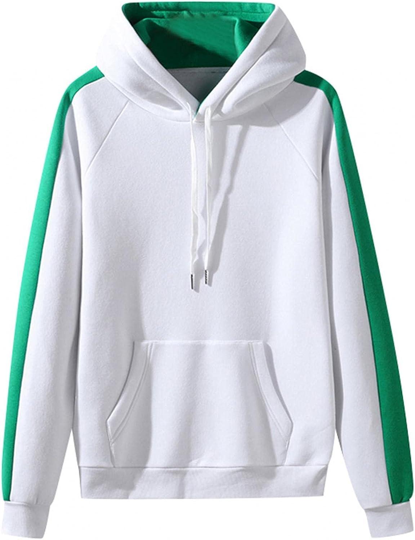 Hoodies for Men Cozy BlockColor Sport Sweatshirt Drawstring Gym Fleece Pullover Long Sleeve Mens Athletic Hoodies