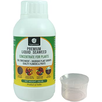 OrganicDews Liquid Seaweed Concentrate for Plants 250 ml with Measuring Cup 25 ml Fertilizer for All Indoor and Outdoor Plants
