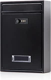 Locking Mailbox Wall Mounted Vertical– Jssmst Mail Boxes with Combination Lock Large Capacity, 12.6 x 8.46 x 3.35 Inch, Black, SM-0601CM