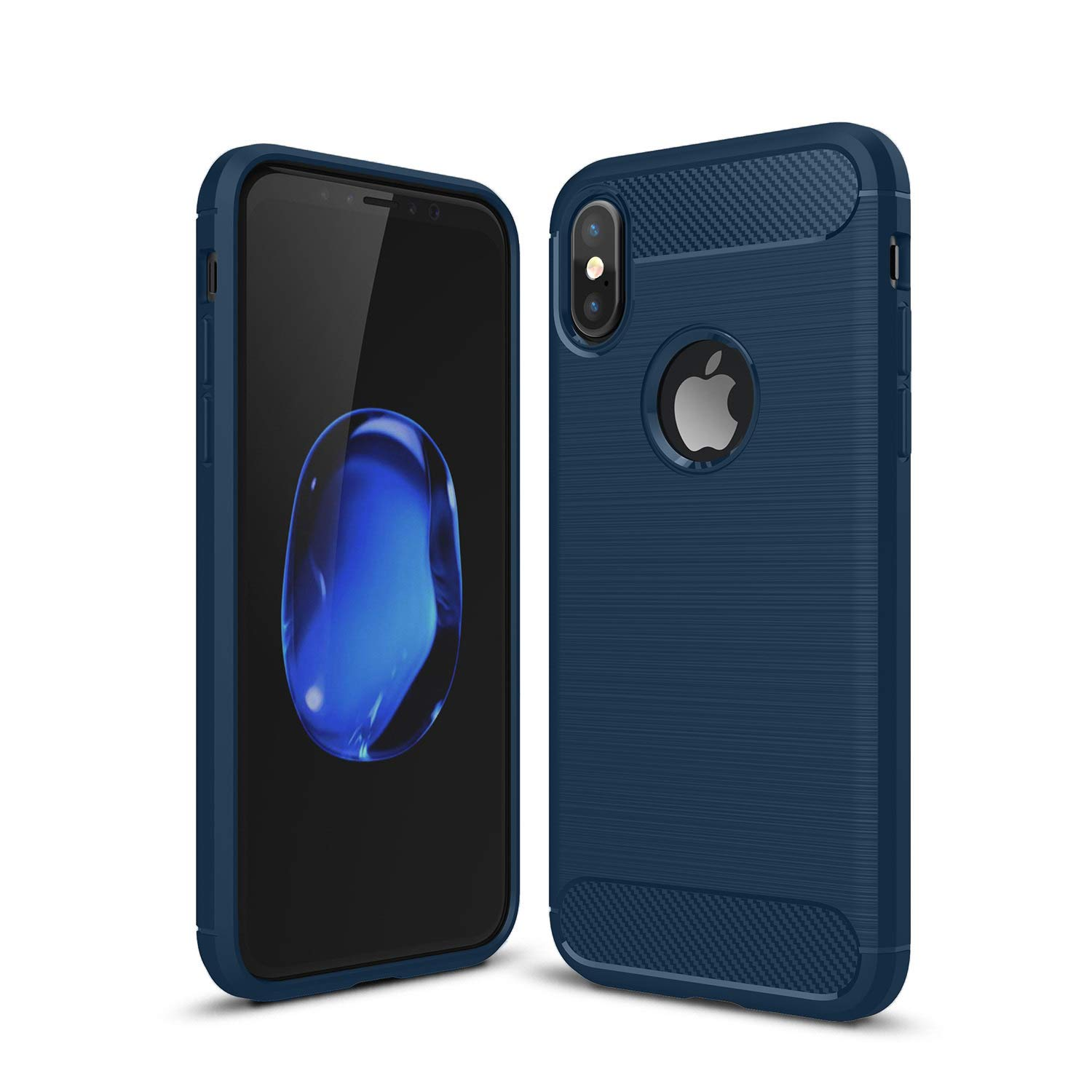 Kit Me Out World Carbon Series Case Designed for iPhone Xs Max Case, Full Matte Slim Fit Flexible TPU Minimal Durable Protection Case Cover Brushed Carbon Fiber Effect (Navy Blue)