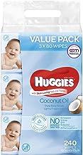 Huggies Baby Wipes Lightly Fragranced Coconut Oil Value Bundle Pack (3X80 PK)