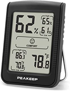 Peakeep Digital Hygrometer Thermometer, Accurate Room Indoor Humidity and Temperature Gauge Monitor Meter Indicator with Min and Max Records (1 Pcs)
