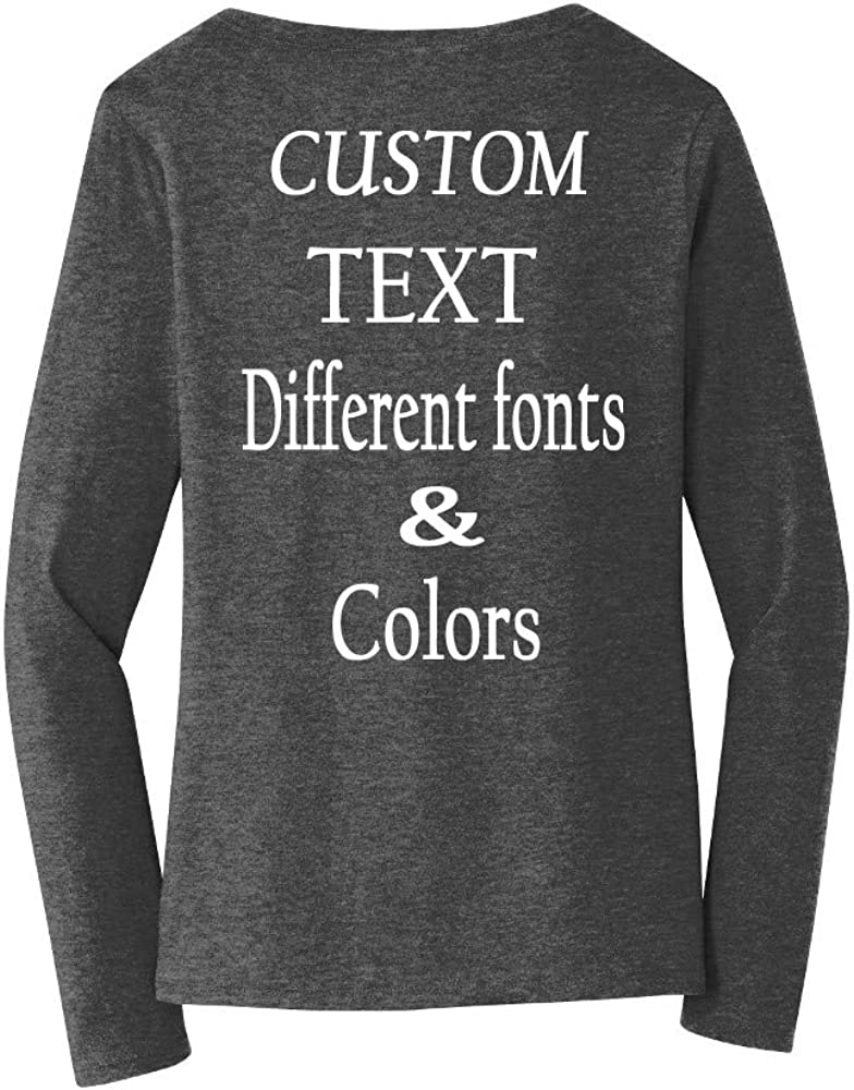 Design Your Own Personalized by Add Text Custom Women Long Sleeves Tee Shirt