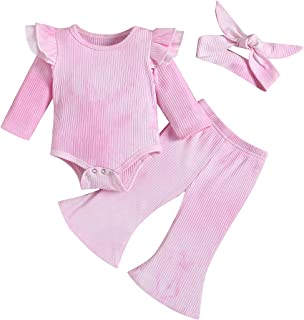 Sponsored Ad - bilison Baby Girl Boy Clothes Newborn Baby Tie-Dye Ruffle Sleeve Romper Top+Long Pants Little Girl Boy Outfits