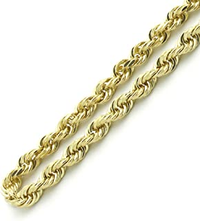 10K Gold 3MM, 4MM, or 5MM Diamond Cut Rope Chain Necklace Unisex Sizes 7