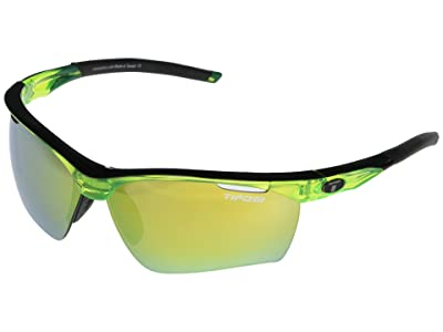 Tifosi Optics Vero (Crystal Neon Green Frame Clarion Yellow/AC Red/Clear Lenses) Athletic Performance Sport Sunglasses