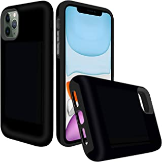 Destone Designed for iPhone 11 Pro Max Case with Card Holder, [3 Credit Card Capacity] Heavy Duty Shockproof Rugged Armor TPU and Plastic Hybrid Wallet Case for iPhone 11 Pro Max (Black)