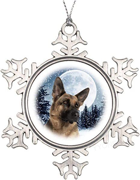 Yyone Unique Holiday Decor German Shepherd Moon Holiday Ornament Gift For Christmas Halloween Birthday And So Metal Snowflake Shape Souvenior Home Kitchen