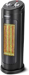 LIFE SMART Ceramic PTC Electric Space Heater, Portable Tower Heater with Adjustable Thermostat, Timer, 3 Models with Overheat an Tip-Over Protection for Office and Home heating, 1000W/1500W