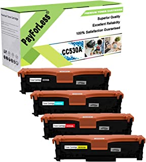 PayForLess Compatible 304A CC530A CC531A CC532A CC533A Toner Cartridge 4PK Replacement for HP Color Laserjet CP2025 CP2025dn CM2320 CM2320NF CM2320fxi