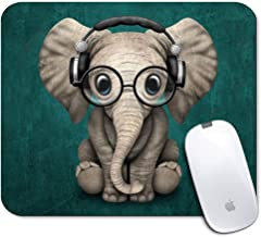 iNeworld Personalized Rectangle Mouse Pad- Printed Cute Elephant Pattern Non-Slip Rubber Comfortable Customized Computer Mouse Pad (9.45x7.87inch)